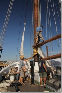 Amistad and Adventure crew prepare for jumbo and fore sails