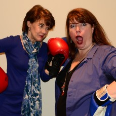 Divas Kathy St. George and Kerry Dowling battle for center stage in Gloucester Photos by Gary Ng