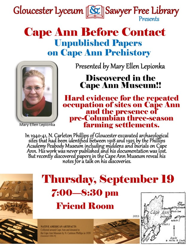 LEPOINKA CAPE ANN PREHISTORY PROGRAM 9-2013