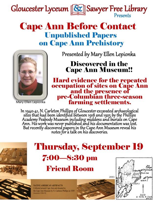 LEPOINKA CAPE ANN PREHISTORY PROGRAM 9-2013