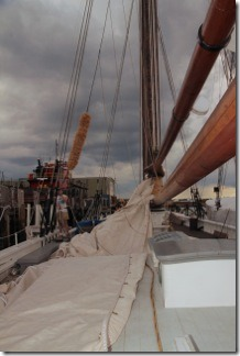 Main sail ris readied
