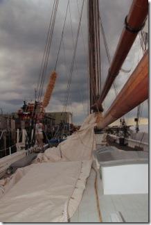 Main sail ris readied