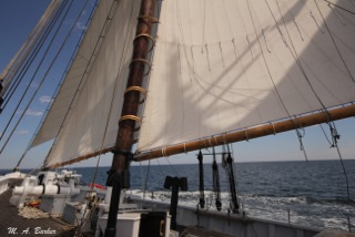 The Adventure's head, jumbo and fore sails