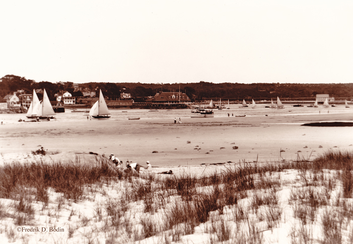 Wingaersheek Beach, 1930. Annisquam Yacht Club is near the middle of the photo.