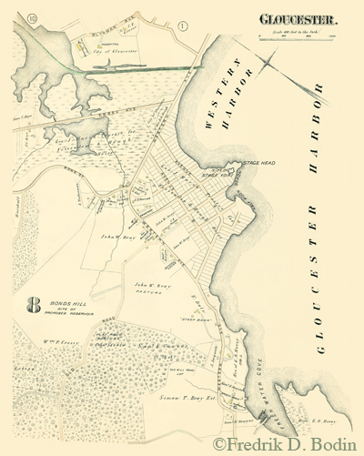 "In this 1884 map, one of our gems, Stage Fort Park, has been sentenced to cookie cutter, suburban-type development. Fortunately, this never happened, and it's a public park which we can all enjoy. This weekend,  September 28th and 29th, Stage Fort will host the Grand Prix of Gloucester.   http://www.gpgloucester.com/:  Known nationally as ""the New England Nationals"" – unfolds at one of the most beautiful race venues in the country: wind-swept ocean side park. Winners are a veritable who's who of cyclocross: Johnson, Vervecken, Trebon, Anthony, Powers, Bessette, Dunlap, Knapp and more. Gloucester is one of the oldest UCI races in North America and attracts hundreds of racers and thousands of spectators. I love it when I see small fuel efficient cars driving down Main Street with high tech bikes on roof racks. I know it's Cyclocross  time! They don't spend much, if anything, in my gallery. But they're really nice people, clearly have great jobs and pay checks, and that helps my fellow merchants. Let's count our blessings that the original settlement of 1623 belongs to all of us, and we can share."