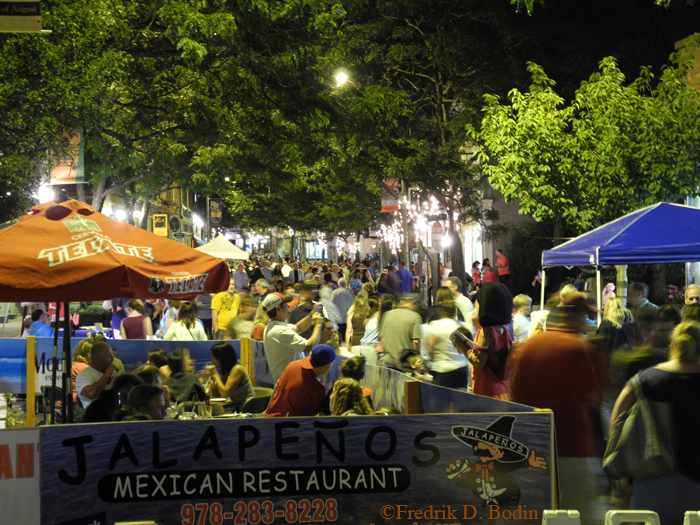 Even after dark, the street is packed. Here is my neighbor Jalapenos Mexican Restaurant. Always busy and always tasty. All the restaurants serve late.
