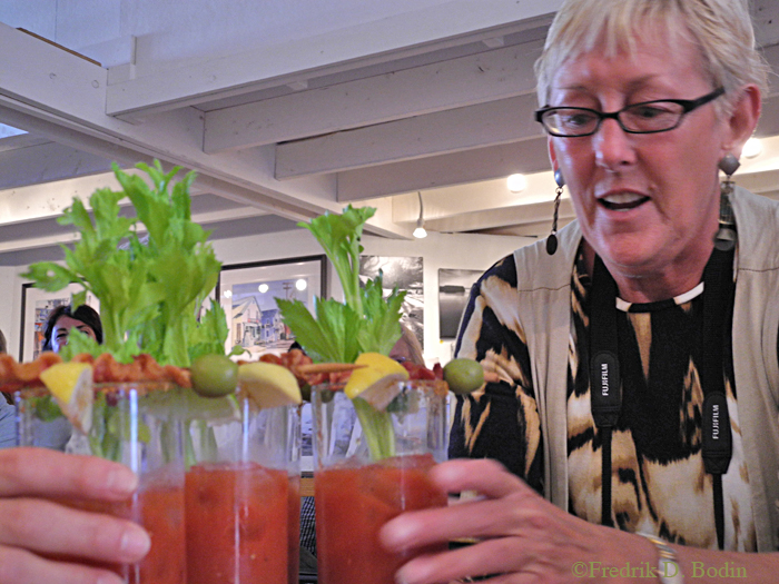 Gallery owner EJ hosted the contest, delivering eight rounds of interesting Bloody Marys to the five judges. Of course we only sipped each one for evaluation, except for the one we really liked!
