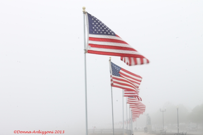 May 24, 2013 flags waving in the fog