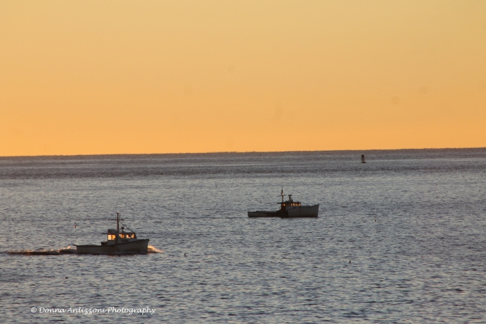 September 18, 2013 lobster boats going out at Sunrise