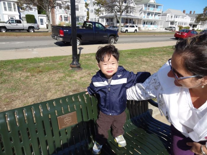 Tommy on Paul's bench with Aunty Cathy one year ago