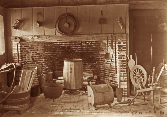 This is the interior of the Babson Cooperage in July of 1935. Looking at the household implements, you wonder what some of them were used for. I believe this was part of the original Babson House, the kitchen.