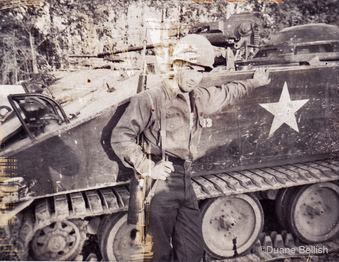 "So just to wrap this up, here is Duane in basic training in '69 at Fort Knox, TN. He's standing next to a 114 amphibious personnel carrier. His Chippawa name is "" Wind in His Tail."" I wish Duane and Sandy a fair wind, and smooth sailing. After being here for one day, they said to me: ""I think we could live here."" I sincerely hope so."