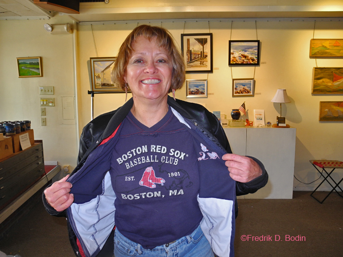 Donna shows her Red Sox colors. She is an avid Sox fan. So much so that she gets nervous during the series. I admire how she finds time to give us great photos here every day, and still works full time. Thank you Donna!