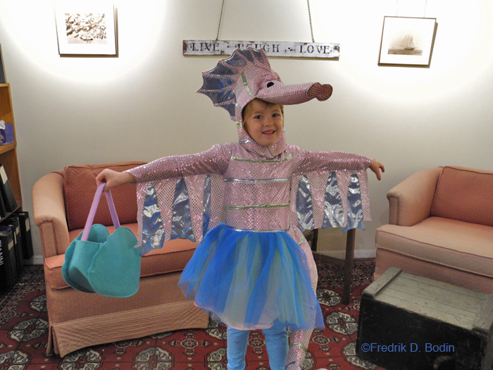 The Seahorse girl! This is Ellina Parson of Gloucester. What a creative costume, and she wears it well.