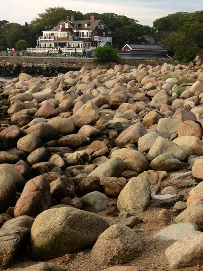"""""""I snapped her pic and while at the same spot, snapped one of the Eastern Point Yacht Club across the rocky shore."""" Sharon and her husband live in Florida. Very nice people."""