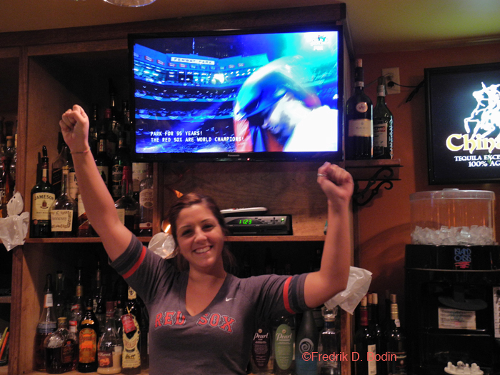 Yes, the dream came true. The Red Sox beat the Cardinals soundly. As I occasionally do, I watch the game next door at Jalapenos. Big TVs and great service. Bartender Sam Saputo is also happy about the win. We all had champagne afterwards.
