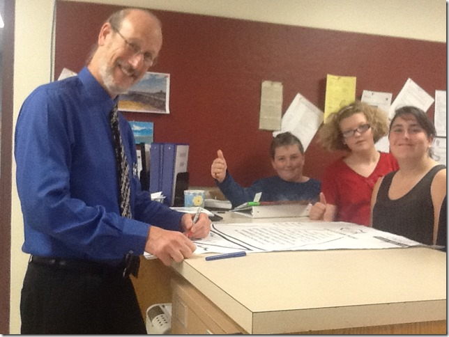 Supt. Safier signing our new Pledge
