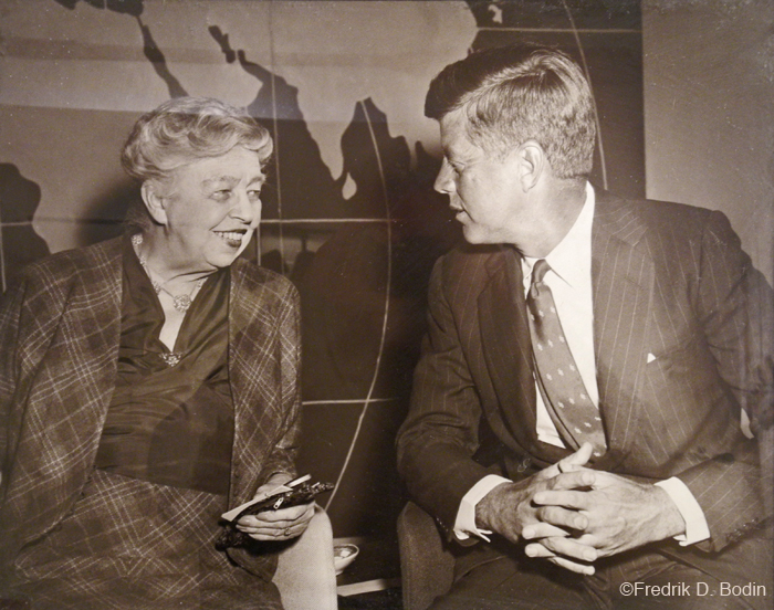 Former First Lady Eleanor Roosevelt and President Kennedy at the United Nations. She was the US Representative to the UN from 1946 - 1953.