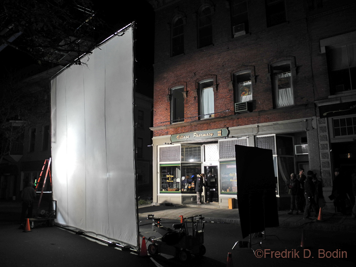 Night filming on Main Street. about 5:30. Very impressive to see the setup. They've got a ton of equipment to stow away for tomorrow.