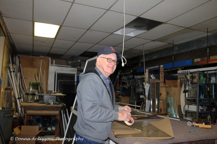 November 12, 2013 Al working on a piece of glass