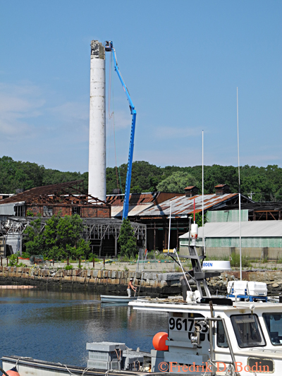 July 24, 2013. This is the Cape Ann Tool Company in Pigeon Cove, Rockport. The defunct industrial site will be made into single family housing and incorporate a public harbor walk.