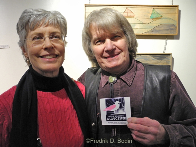 Ann and Phil have been coming to the Sidewalk Bazaar in Gloucester for at least 15 years. They are long-time customers and now they're friends. They drove down from their home in Burlington Vermont just for the Good Morning Gloucester Holiday Party at my gallery. That's quite a compliment to us all.