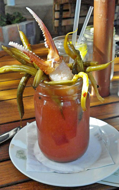 The Christmas holiday is  over. Thank heavens! I hosted so many holiday parties at the gallery this month that I'm totally tuckered out. Now it's time to look forward to 2014 and new adventures. This is an awesome looking Bloody Mary. It could be your dinner and your drink. I'll have mine without the green worms please!