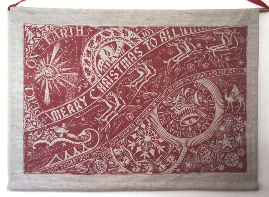 Julia prints this piece in a few different colors. Mine is printed in red ink on a natural linen background.