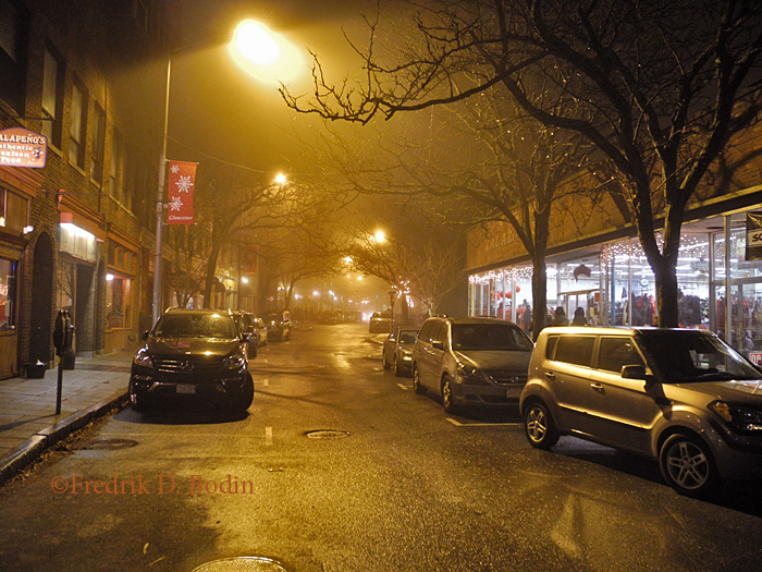As the night was winding down, Main Street was enveloped in fog. Fortunately, it didn't rain during Ladies' Night. I drove down a part of the Boulevard, saw groups of people heading home from Downtown, all holding shopping bags. It was a good night. When I got into my car it was 50º. Can't complain about that. Uniformed police were out there, but cutting parkers some slack. Looking to protect the public from those over the limit. Thank you.
