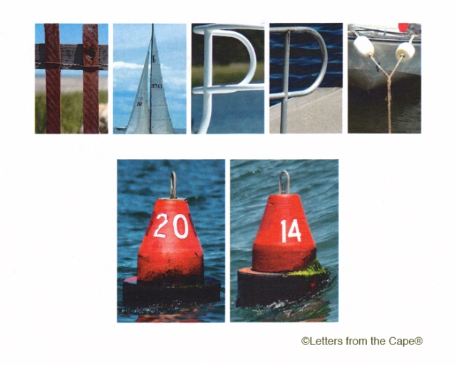 How to say Happy New Year to my Facebook and GMG friends in a new and creative way? This is one of the best holiday cards I've ever received. It's made and sold by Jan & Chris Capece, owners of the Letters from the Cape store in South Orleans, Cape Cod. Jan graciously let me use this, and looks forward to seeing it on GMG this morning. Outstanding graphic design and photography. Gotta go there! www.lettersfromthecape.com