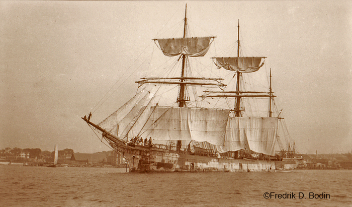 The Italian salt barque Nostra Signora del Boschetto drying her sails. When Gloucester could not make enough salt for our fleet, we imported it from Europe.