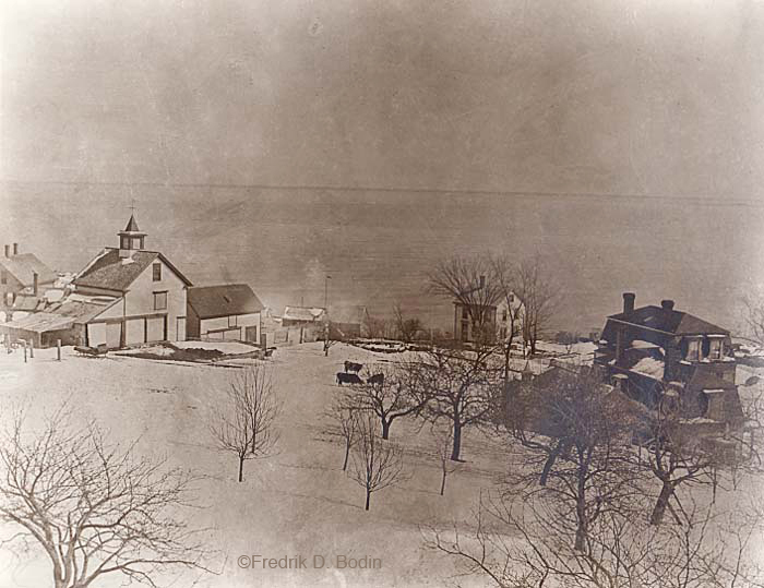 Winter View From Charles Cleaves' Attic, circa 1900. At 5pm, it just started snowing on Main Street, and the plows are out. There is a parking ban on the streets of the City of Gloucester.