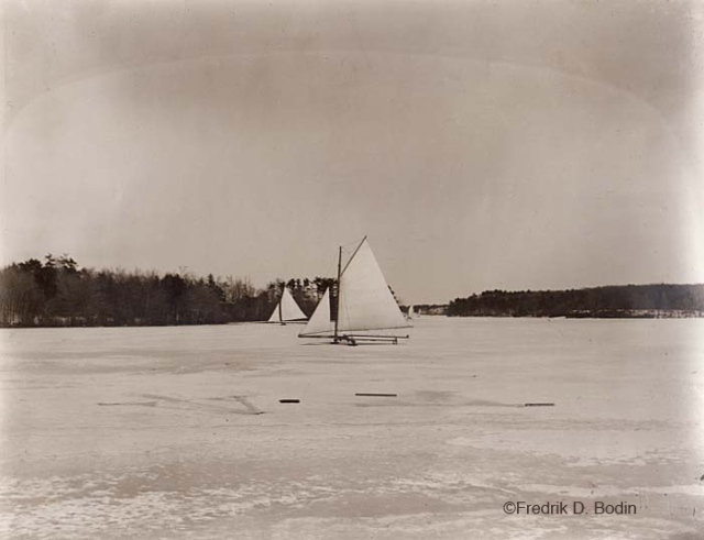 Iceboating was, and still is popular on Cape Ann. I've seen it on Niles Pond. All these boats are home made, and my favorite was Mark Sheldon's. Cape Pond is now a public water supply for Rockport.