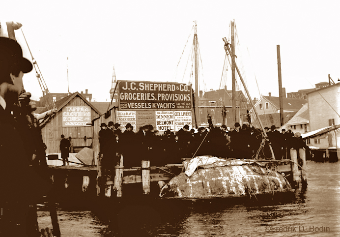 This small vessel sailed to Gloucester from Norway, shortly after 1900, and in January. She beached on Pavilion Beach, and then tied up downtown. Can you identify her?