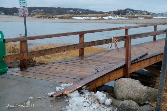 Gloucester Good Harboe Beach foot bridge damage  ©Kim Smith 2014