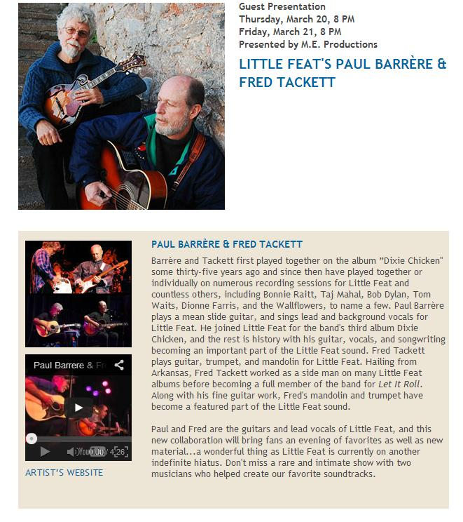 Little Feat's Paul Barrere & Fred Tackett