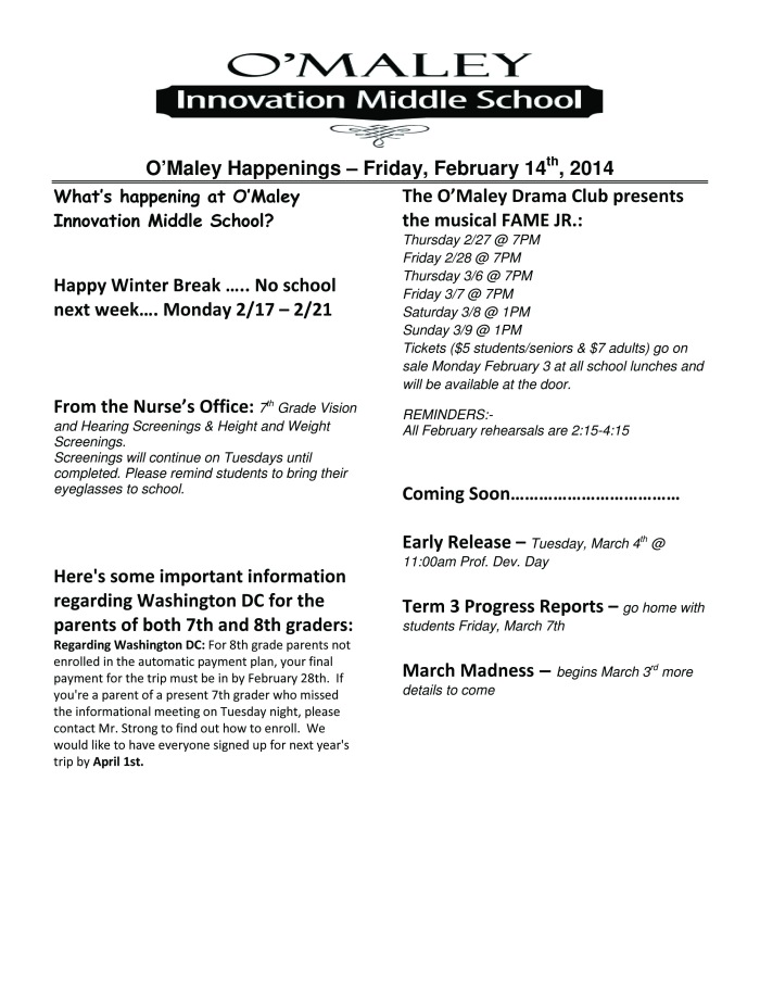 Microsoft Word - O'Maley Happenings - February 14, 2014