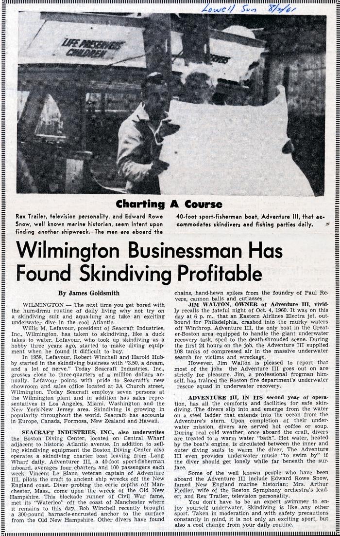 seacraft article in lowell sun_1961