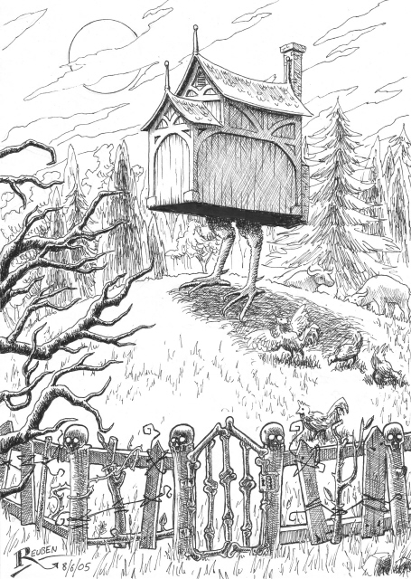"A children's folk tale, written about 300 years ago, is titled ""Baba Yaga."" IIt takes place in the Slavic countryside in the vicinity of Russia. I read it in high sxhool and Baba Yaga's magical hut made an impression on me, When the witch wanted to go somewhere the hut sprouted chicken legs and scurried along. The painting of a dog on a doghouse in Rockport reminded me of Baba Yaga and the hut: http://goodmorninggloucester.wordpress.com/2014/03/26/dog-house-rockport/#comments"