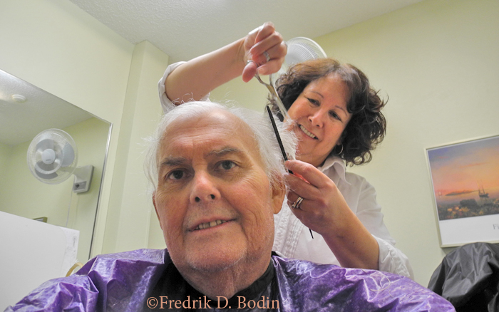 "It was haircut time for me. Fortunately, I could get a wash and cut in the rehab facility. I wheeled myself into the 'Beauty Salon,"" where Patty of Rockport styled my hair as I sat in my wheel chair.  A true haircut of opportunity."
