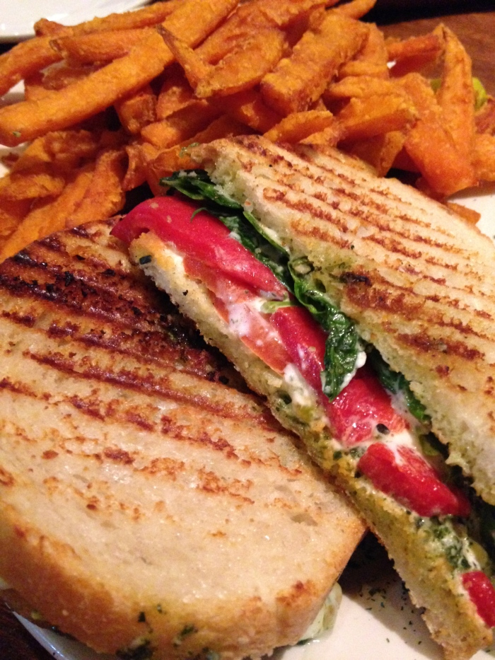 Veggie Panini with Sweet Potato Fries from the Seaport Grille. Come on!  So crazy good.