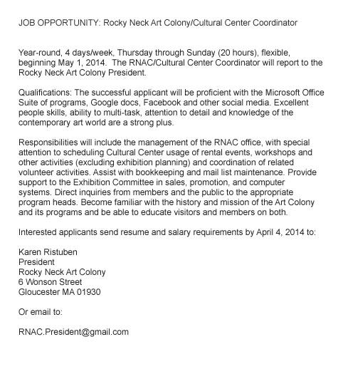 job listing_cultural center coordinator