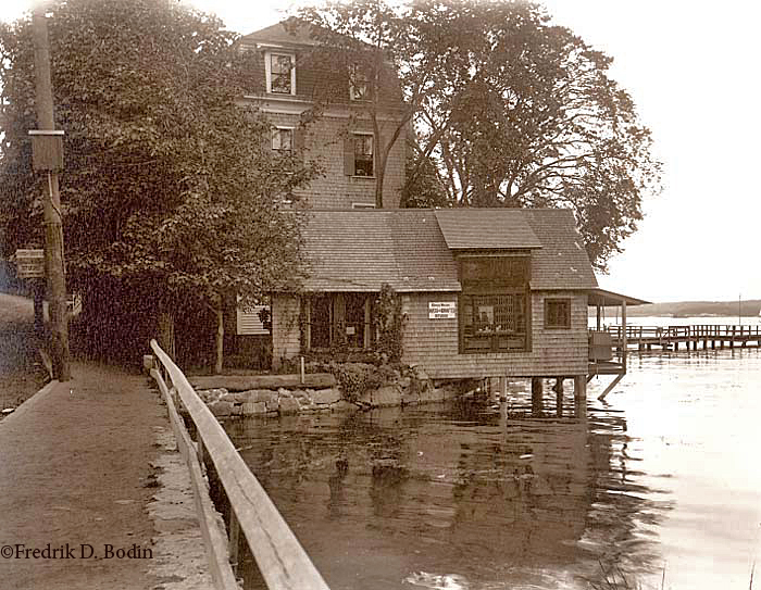 Renowned American painter John Henry Twachtman (1853-1902) spent the last years of his life depicting Gloucester scenes. In this photo, his studio is called the Grace Hazen Studio, later that of O'Hara, with the Harbor View Hotel in the background.