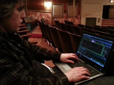 John Coretto from WHB Concert Production tuning the new system.  He took that laptop all over the orchestra and balcony to make sure the sound is perfect in every seat!