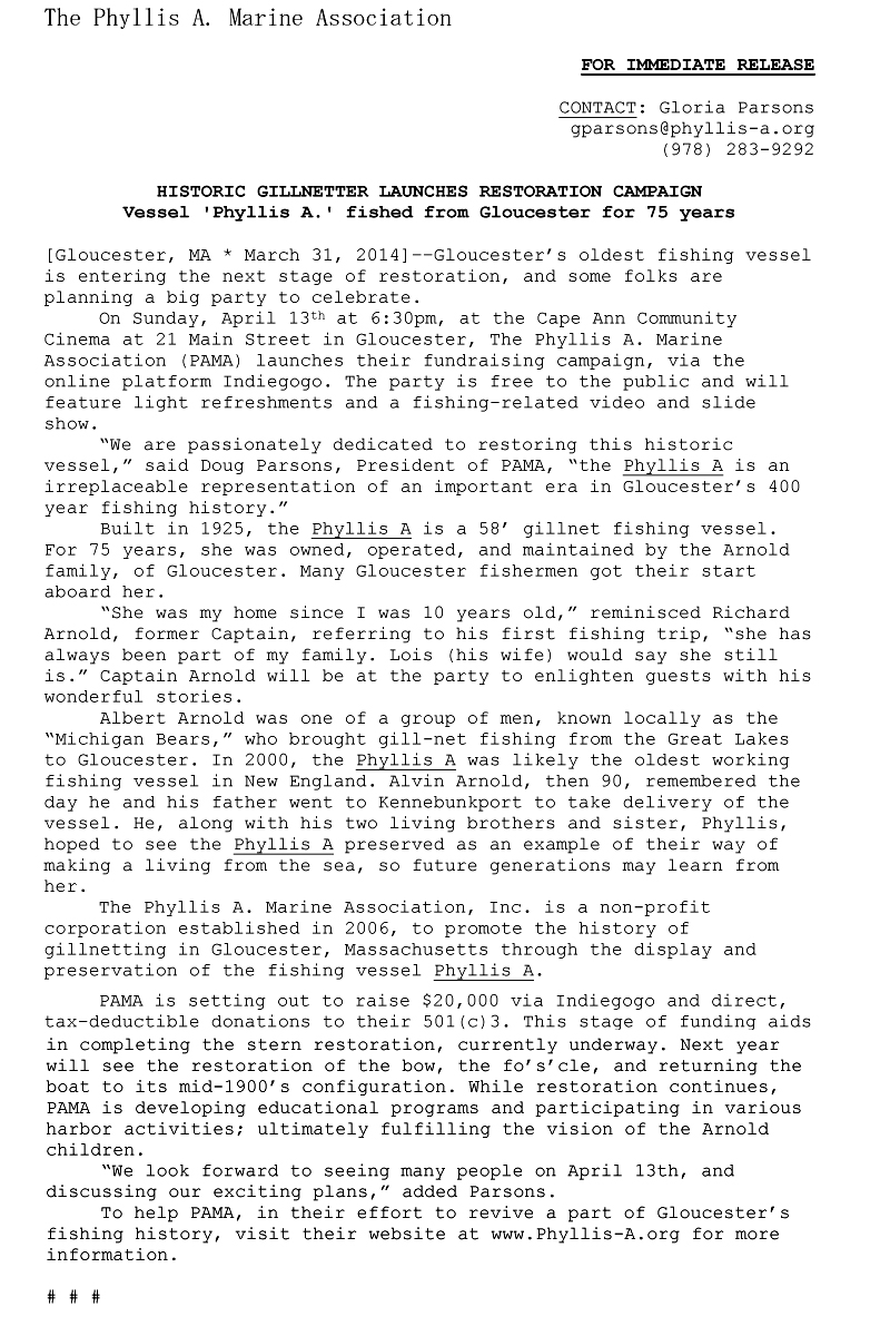 phyllis A Press Release