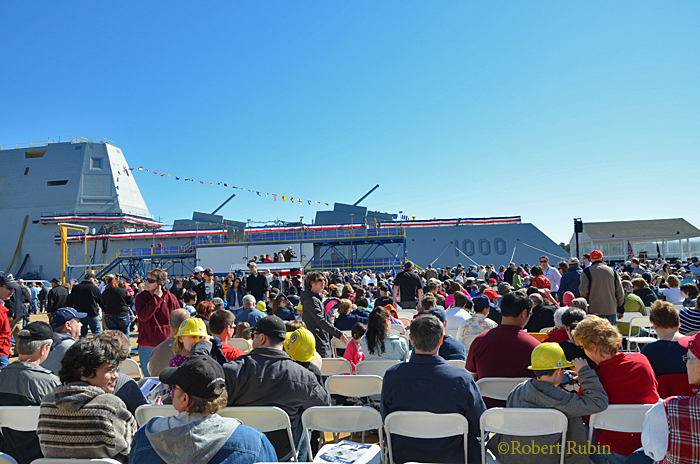 On April 12th, 2014, the 610 foot long US Navy Destroyer Zumwalt was christened at the Bath Iron Works in Maine. My friend Bob Rubin of Rocky Neck (https://goodmorninggloucester.wordpress.com/2013/01/01/tradition-on-rocky-neck/) attended the celebration with his camera. The ship's namesake is the late Admiral Elmo 'Bud' Zumwalt, Chief of Naval Operations from 1970 to 1974. USS Zumwalt is the stealthiest and most technologically advanced ship in the world.