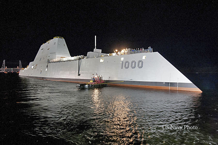 Numerous groundbreaking features are built into the Zumwalt, among them: Tumblehome or reverse bow to slice through waves and reduce the wake; No windows or portholes; Composite superstructure; Crew of 130, which is about half that of similar warships, and no external antennas. USN Captain James A. Kirk's futuristic destroyer's stealth features will also make the ship appear as a Gloucester fishing boat on enemy radar.
