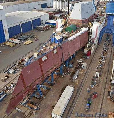 Destroyer Zumwalt under construction at the Bath Iron Works. The ship will go to sea in 2016. Cost: $3 billion dollars.
