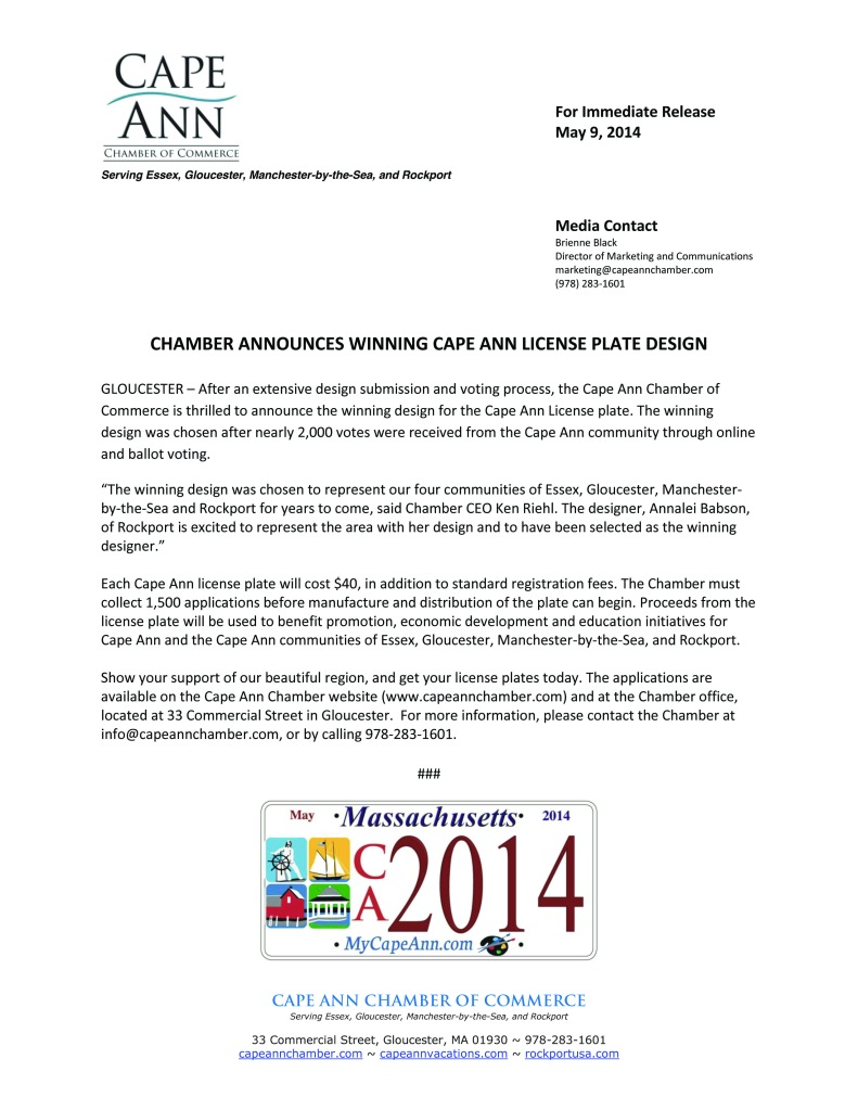 2014-03-25 License Plate Design Press Release