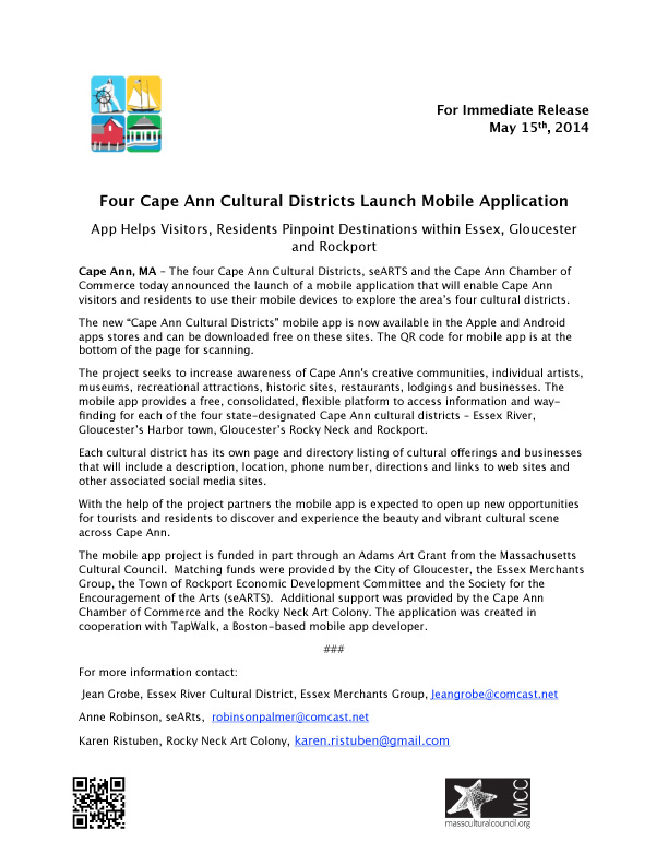 cape ann cultural districts mobile app launch